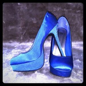SM New York - Blue Satin & Rhinestone Heels - 10